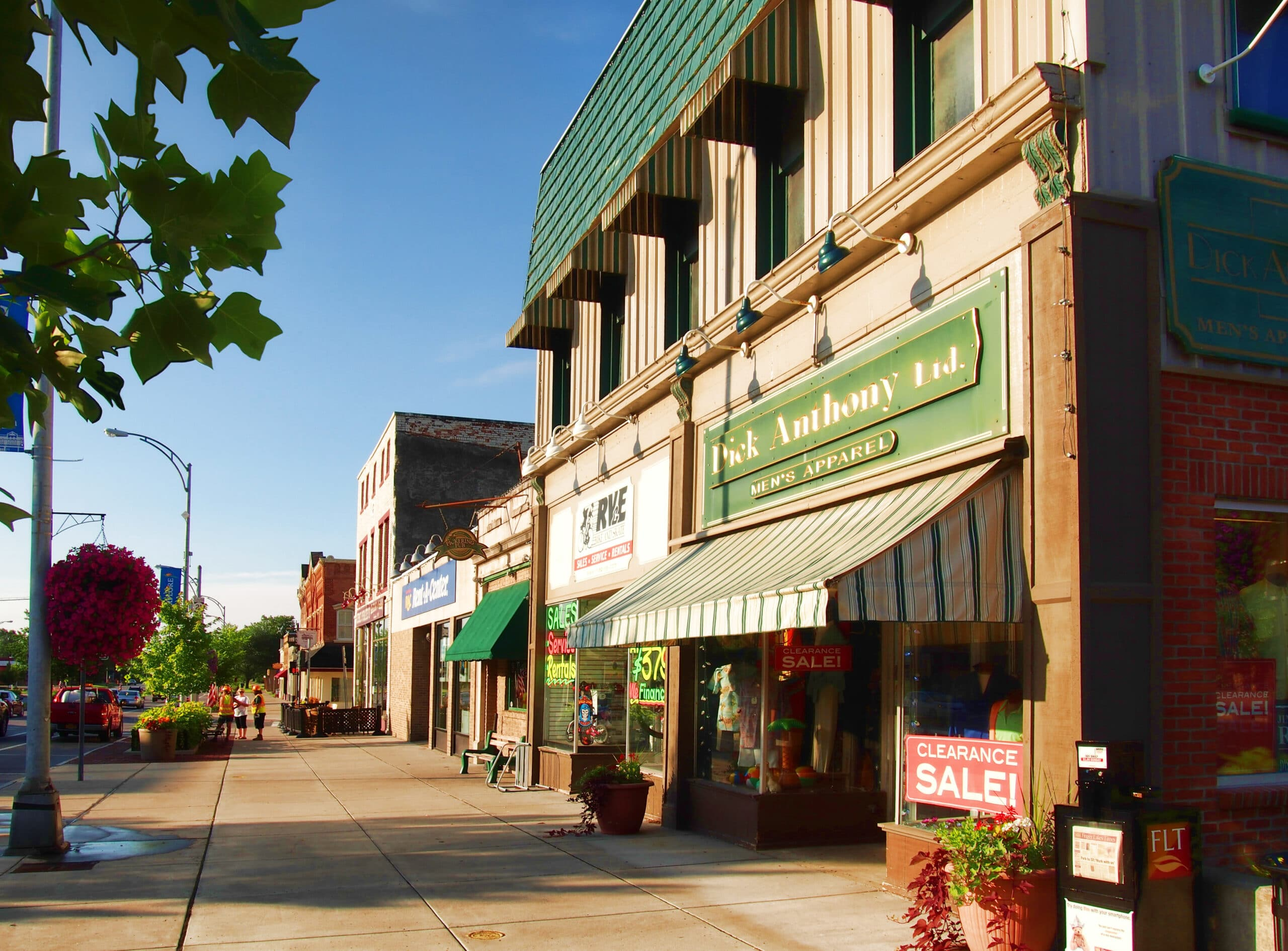 Canandaigua , New York, USA. July 11, 2017. South Main Street in downtown Canandaigua, New York on the shore of Canandaigua Lake in the Finger Lakes Region of upstate New York